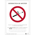 Affichage Interdiction de Vapoter - Panneau officiel - Étiquette à coller