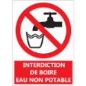 "Signalétique ""Interdiction de boire - Eau non potable"""