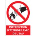 """Signalétique """"Interdiction d'éteindre avec de l'eau"""""""