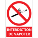 "Signalétique ""Interdiction de vapoter"""